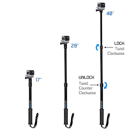 """SANDMARC Pole - Black Edition: 17-40"""" Waterproof Extension Pole (Selfie Stick) for GoPro Hero 8, Max, 7, 6, Fusion, Hero 5, 4, Session, 3+, 3, 2, HD & Osmo Action - with Remote Clip (Mount)"""