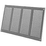400 x 200 mm/40 x 20 cm, griglia di ventilazione grigia con protezione dagli insetti, applicazioni di riscaldamento, raffreddamento e ventilazione, copertura interna ed esterna, design a lamelle.