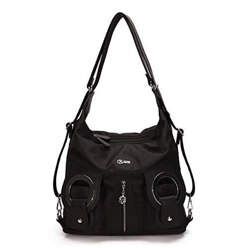 KL928 handbags women ladies handbags tote bag rucksack handbags 2 in 1 backpack shoulder bag nylon handbag women (nylon black)