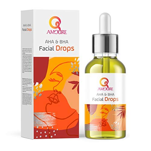 Qamoure AHA & BHA Facial Drops - 100% Natural & Vegan-Friendly Gentle Chemical Exfoliator - Ideal for Oily, Dry, & Sensitive Skin - Anti-Pollution & Blue Light Skincare for Men & Women - 30ml Solution