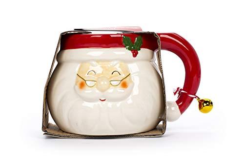Tri-coastal Design - Tazas Navideñas de Café o Té en Cerámica con un Colorido Diseño Festivo, Taza Grande de 443ml (Santa Claus)
