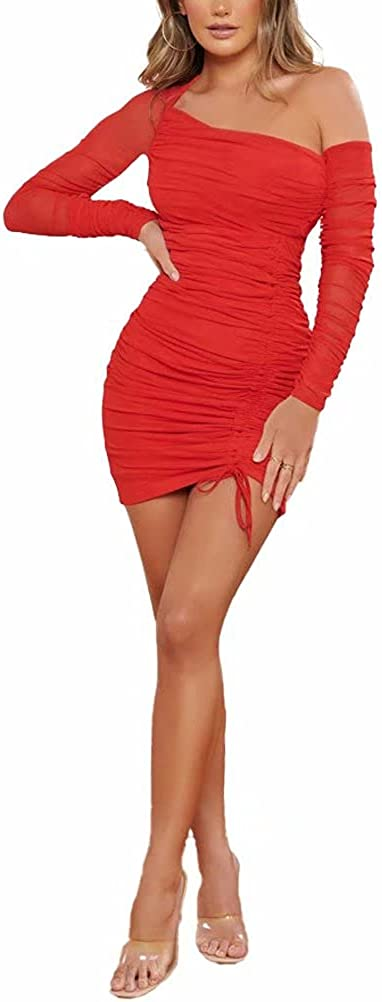 Ekaliy One Shoulder Dress Ruched Bodycon Mini Dresses for Women Smocked Club Dress Sexy Long Sleeve Short Skirt