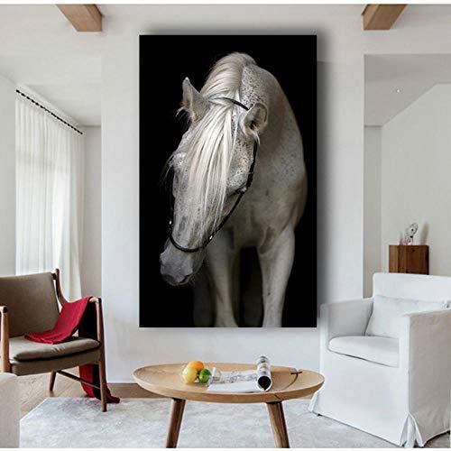 Dekoration Tiere Wandkunst Schwarz Weiß Pferd Poster Print Leinwand Malerei Für Wohnzimmer Kid'Room-50x100cmx1 STK. Kein Rahmen
