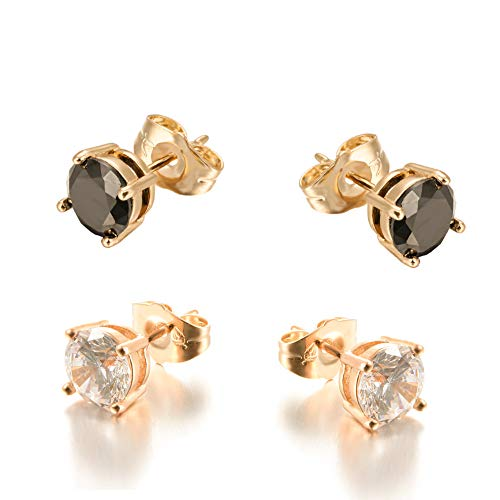Yumay 9ct Gold Stud Earrings Made with Sparkling Diamond Black 7mm, White 6mm Cubic Zirconia for Women