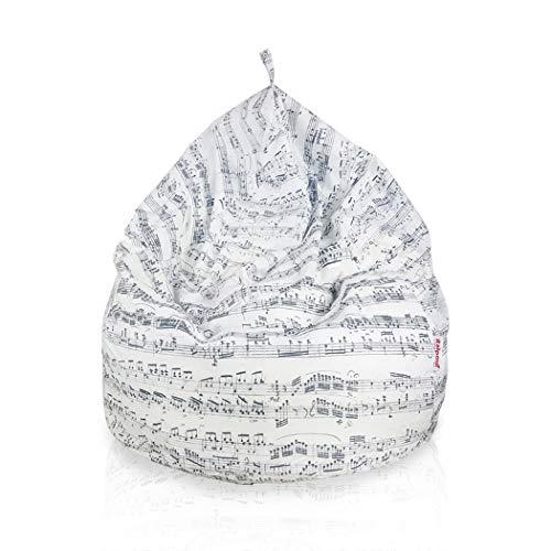 Pouf Sacco Gigante XXL 100 Ø x 130 cm, Pouf Sacco Fantasia Musica, Pouf Sacco Tessuto Morbido, Pouf Sacco Sfoderabile! Poltrona Sacco Imbottito! Pouf 27 Diverse Fantasie! (Pouf Sacco XXL, Musica)