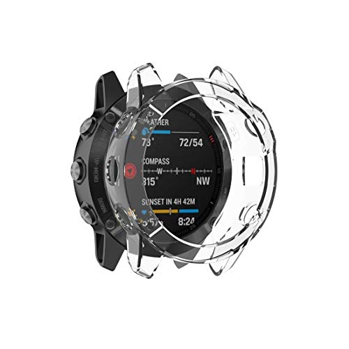RUANGER Geeignet for Garmin Fenix 6S / 6S Pro transparente TPU-Kieselgel-Uhr-Kasten (Transparent weiß) (Farbe : Transparent White)