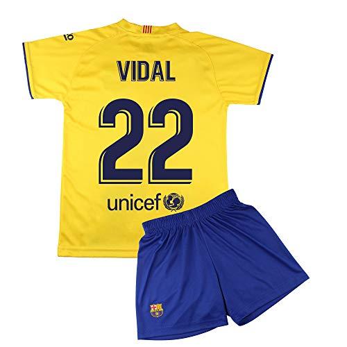 Champion's City Set Trikot und Hose für Kinder zur Erstausstattung – FC Barcelona – Replika – Spieler 12 Jahre 22 - Vidal