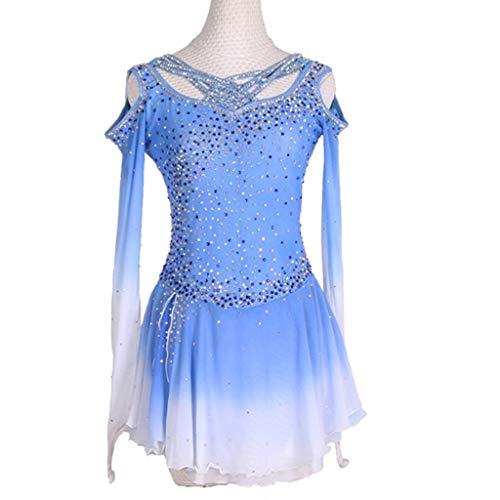 Vestido de Patinaje artstico Hecho a Mano LS, Disfraz de competicin para nias Azules, Manga Larga, Transpirable, cmodos, Trajes de Baile, Leotardo de Gimnasia