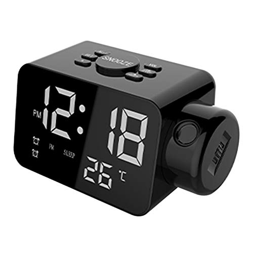 WWWL Reloj despertador digital para dormitorio, proyector, cargador USB, timbre ajustable, 12/24 h, alarma doble fuerte, color negro