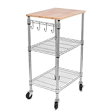 Internet's Best 3-Tier Kitchen Cart with Locking Wheels, Removable Cutting Board, 4 Hooks for Cooking Utensils and Extra Rolling Adjustable Shelving Unit