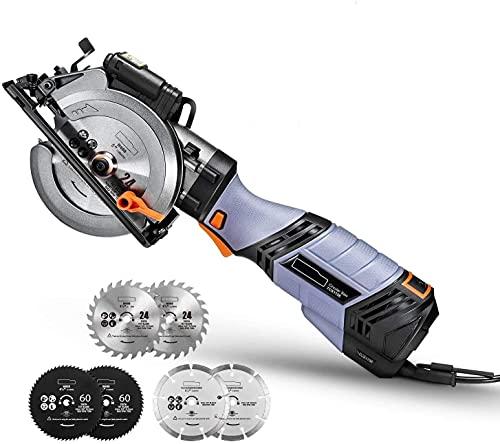 Sierra Circular 750W, 6 Velocidades hasta 3500 RPM,Mini Sierra Circular, 6 Hojas y Guía Láser, Cortar Madera, Metal Blando y Azulejos - Sierra Circular de Mano