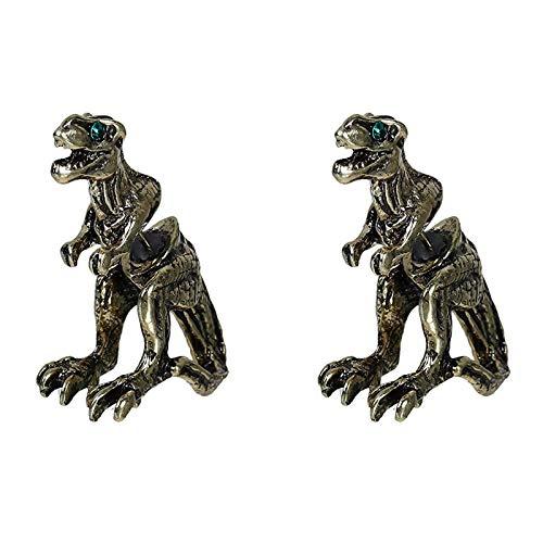 SUNNFLOOWER Vintage 3D Dinosaur Earring T-Rex Jewellery, Punk Style Dragon Piercing Stud Pendientes con Diamantes de imitación Accesorios Unisex Fashion Party (Bronce)