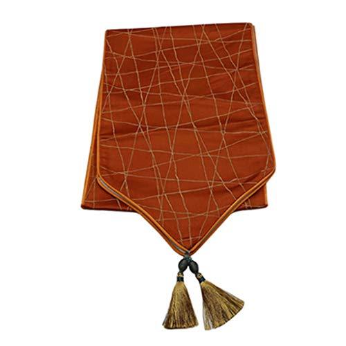 Bandera de mesa Camino de Mesa Elegante clasico de algodon y poliester for Comedor/Fiesta/decoracion navidena marron (210 * 35 cm) 4.4