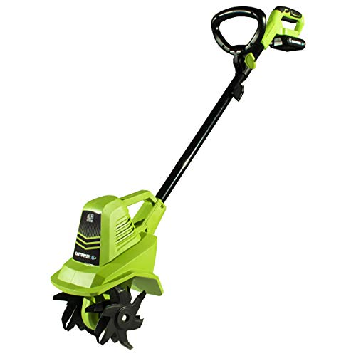 Earthwise TC70020 20-Volt 7.5-Inch Cordless Electric Tiller Cultivator, (2AH Battery & Fast Charger Included)