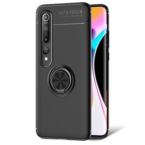 NALIA Ring Case Compatible con Xiaomi Mi 10 / Mi 10 Pro Funda, Silicona Carcasa con 360-Grados Anillo Giratorio para Soporte de Coche Magnético, Kickstand Cover Cubierta Protectora Estuche - Negro