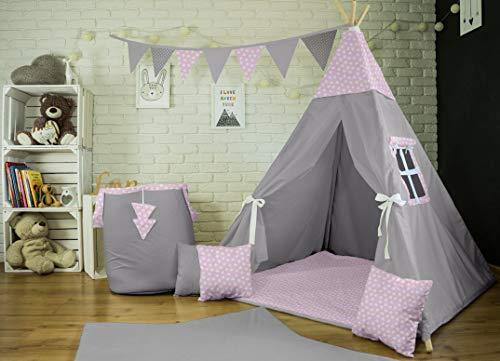 Me and You Tipi Spielzelt für Kinder Zelt Wigwam Kinderzelt Indianer mit 3 Kissen+Decke (Grau-Rosa Herzen (45))