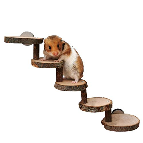 Vaorwne Wooden Ladder for Hamsters, Wooden Cage Supplies for Toys Pets Parrot Guinea Pigs Chewed By Small Pets