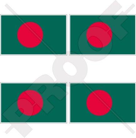 Bangladesh Drapeau bangladaises 5,1 cm (50 mm) bumper-helmet en vinyle autocollants, Stickers x4