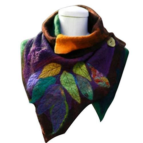 Fucsiaan Sciarpa da Donna, Stile Vintage Morbida Caldo Autunnale Invernale con Motivo a Foglia Design Sciarpa con Bottone per Appuntamento Feste e Outwear, Cotone Colore, Arancione