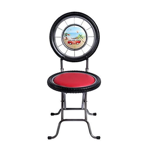 XNLIFE Eenvoudig inklapbare barkruk outdoor vrije tijd salontafel en stoel balkon zwart smeedijzeren fiets bandenvorm rugleuning kunstleer zitkussen gehard glas tafelblad voor keuken of bar