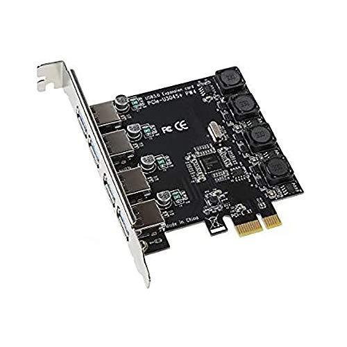 IDEAPRO - Scheda di espansione PCI-E a 4 porte a USB 3.0 PCI, super velocità fino a 5 Gbps, nessun connettore di alimentazione aggiuntivo, per computer desktop Windows XP/Vista/7/8/10 (4 porte)