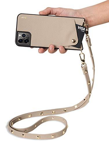 Aux de la colección Venecia | Funda para móvil de Cuero Vegano para iPhone 11 | con Correa Cruzada Ajustable y Separable con Tachuelas chapadas en Oro, (Beige Claro)