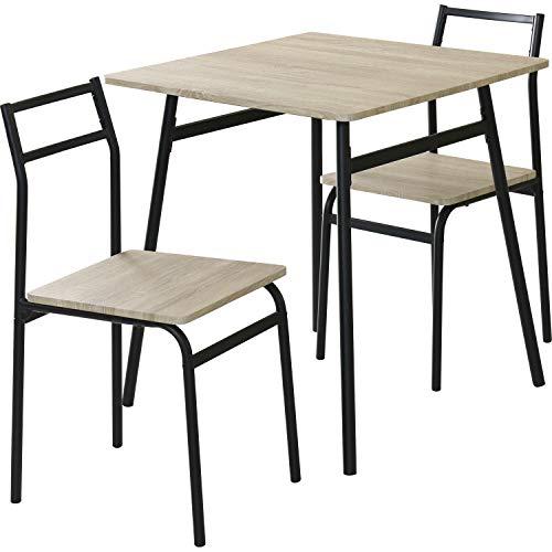 DORIS ダイニングテーブル 2人用 3点セット 幅70 テーブル&チェア 組立式 オーク エーヴィ