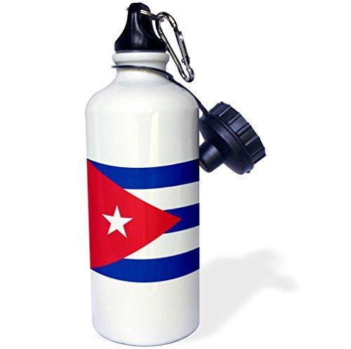 Drapeau du Cuba cubain Rayures bleues Triangle Rouge Blanc étoile Caribbean Island Country World drapeaux Sports Bouteille d'eau en acier inoxydable Bouteille d'eau pour femme homme enfants 400 ml