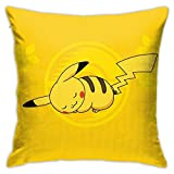Gocerktr Sleepy Pikachu Square Pillow Covers Decorative Cushion Pillowcase for Sofa Home Bedroom Bed 18 X 18 Inch