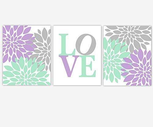 Lavender Mint Green Purple Flower Dahlia Mums Floral Prints Girl Bedroom Art Baby Girl Nursery Decor 3 UNFRAMED PRINTS