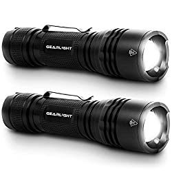 GearLight Tac LED Tactical Flashlight [2 Pack] – Single Mode, High...