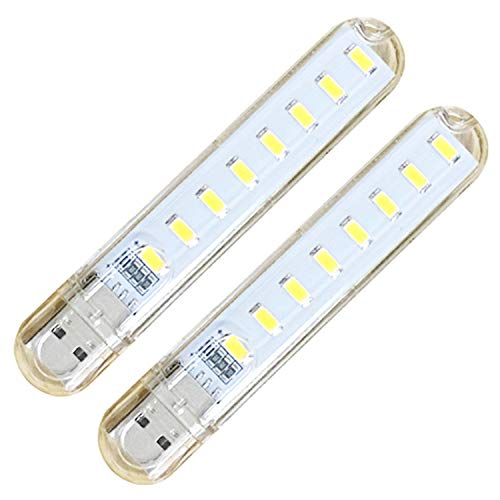 DGZZI 2pcs Portable Mini 8-LED USB Light 5V Night Lamp Outdoor Camping Bulb SMD 5730 for Mobile Charger Laptops Notebook Reading Power Bank Warm White