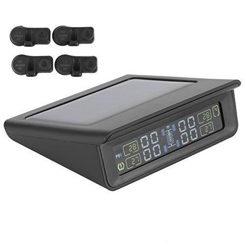 Aramox Sistema de monitoreo de presión de Llantas, ABS + Hardware TPMS Sistemas de monitoreo de presión de Llantas con energía Solar inalámbrica con 4 sensores Pantalla LCD Carga Solar Negro