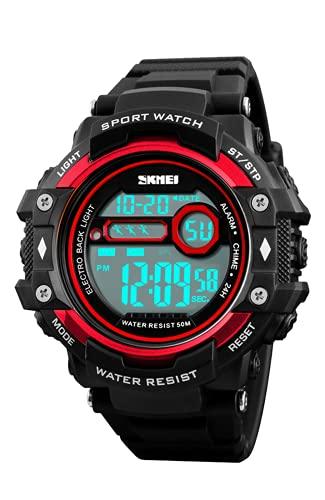 Reloj Digital Hombre Niños, Relojes Deportivos para Hombre Rojo, 50M Impermeable Relojes de Pulsera para Niños Adolescentes con LED/Alarma/Temporizador/Cronómetro