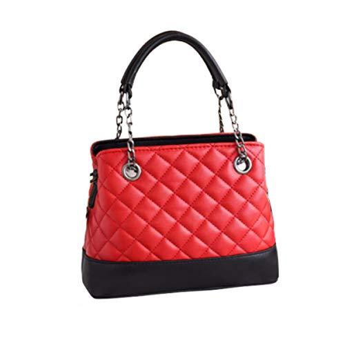 Rare Fig femmes sac à bandoulière sac à main en cuir PU matelassé pour fête bureau voyage travail datant ou usage quotidien (rouge)