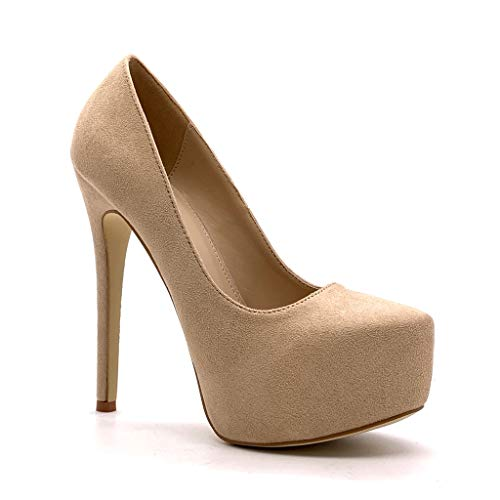 Angkorly - Damen Schuhe Pumpe - Stiletto - Plateauschuhe - Abend - Basic - Basic Stiletto high Heel 14 cm - Beige 628-204 T 40