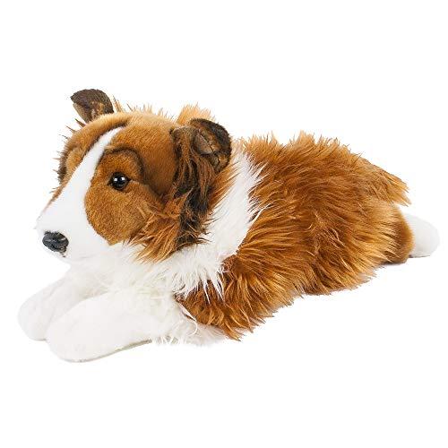 Teddys Rothenburg Kuscheltier Hund Border Collie 40 cm liegend braun/weiß Plüschhund Plüschcollie