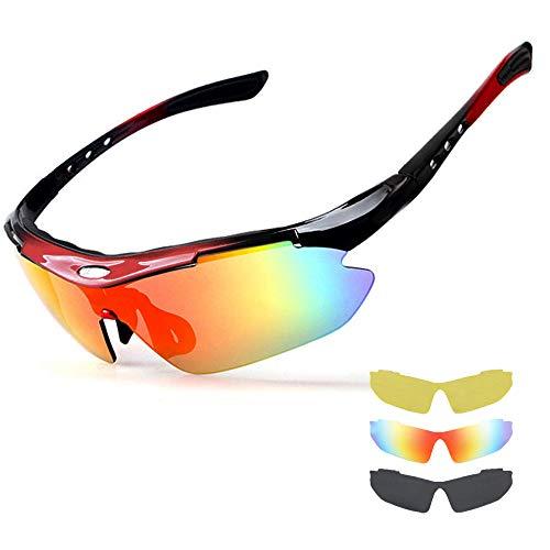 NEWROAD Radsportbrillen, Sportbrille Radsportbrille UV 400 Polarisierte Sport-Sonnenbrille mit 3 Wechselgläsern Fahrradbrille Polarisierte Sportbrille Herren Damen Angeln im Freien Fahren Brille