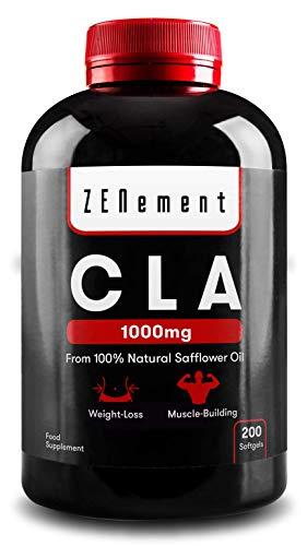 CLA - Acido linoleico coniugato | 1000mg x 200 perle | Perdita di peso, crescita muscolare | Olio vegetale di cartamo naturale al 100%, senza glutine, senza OGM