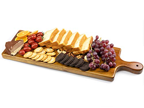 Wood Cutting Board, Wooden Serving Trays with Handle, Charcuterie Board, Cheese Serving Board for Meat, Cheese, Bread, Vegetables &Fruits Display - Knife Friendly Kitchen Butcher Block-(23' x 7')
