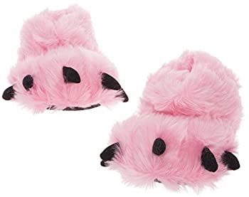 Silver Lilly Bear Paw Animal Slippers  Pink Large