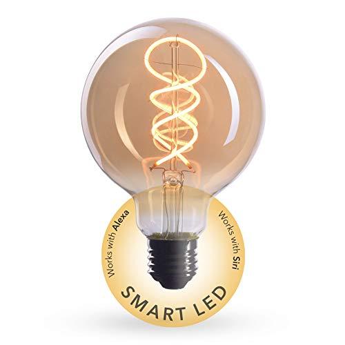 CROWN LED SMART Edison Glühbirne E27 Fassung, Dimmbar, 4W, 2200K, Warmweiß, 230V, EL19, Antike Filament Beleuchtung im Retro Vintage Look - Steuerbar per SMART LIFE/TUYA App für das smarte Zuhause