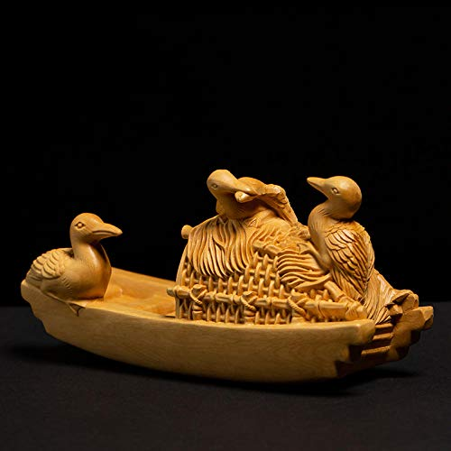 WPXBF Figurine Animal Statue Ornaments Boxwood Carving Room Solid Wood Chinese Style Home Creative Carving Crafts Morants Osprey Bamboo Raft Boat Tea Decoration