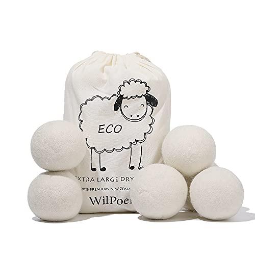 WilPoem High Grade Wool Dryer Balls-100% Organic Premium New Zealand Wool-Reduce Wrinkles & Shorten Drying Time Naturally