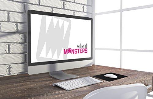 Silent Monsters Mauspad Größe S 25 x 20 cm, Stoff Mousepad Farbe Schwarz, Klein, geeignet für Büro und Gaming Maus