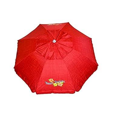 Tommy Bahama Sand Anchor 7 feet Beach Umbrella with Tilt and Telescoping Pole (Apple Red)