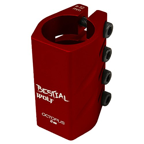 BESTIAL WOLF Octopus, Clamp de 4 Tornillos para Scooter Freestyle (Rojo)