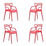 Butterfly, Pack de 4 sillas, Salón, Comedor, Escritorio, Cocina o Terraza, Acabado en Rojo, Medidas: 55 cm (Ancho) x 55 cm (Fondo) x 83 cm (Alto)