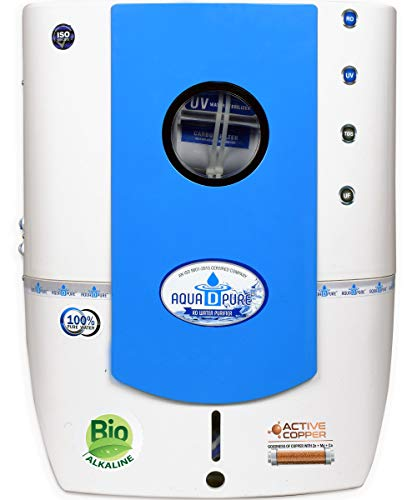 Aquadpure premium Water Purifier with RO+UV+UF+TDS and Bio A-A-A Alkaline + Active Copper 3 in 1 Filter (White & Blue) 12 Liter Made in India