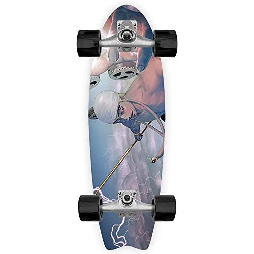Cnlololog Monopatín de una sola inclinación 200 millones de voltios Thor Enel Tail Fish Skateboard UNA PIEZA Anime Fish Board Tabla de surf de tierra Brush The Street Monopatín de una sola inclinación